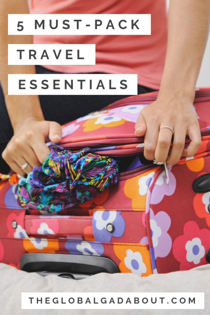No matter where I'm traveling, there are 5 things that are always in my bag and always come in very handy! Click through to learn which 5 things I never travel without! #theglobalgadabout #travel #traveltips #packingtips #packingessentials