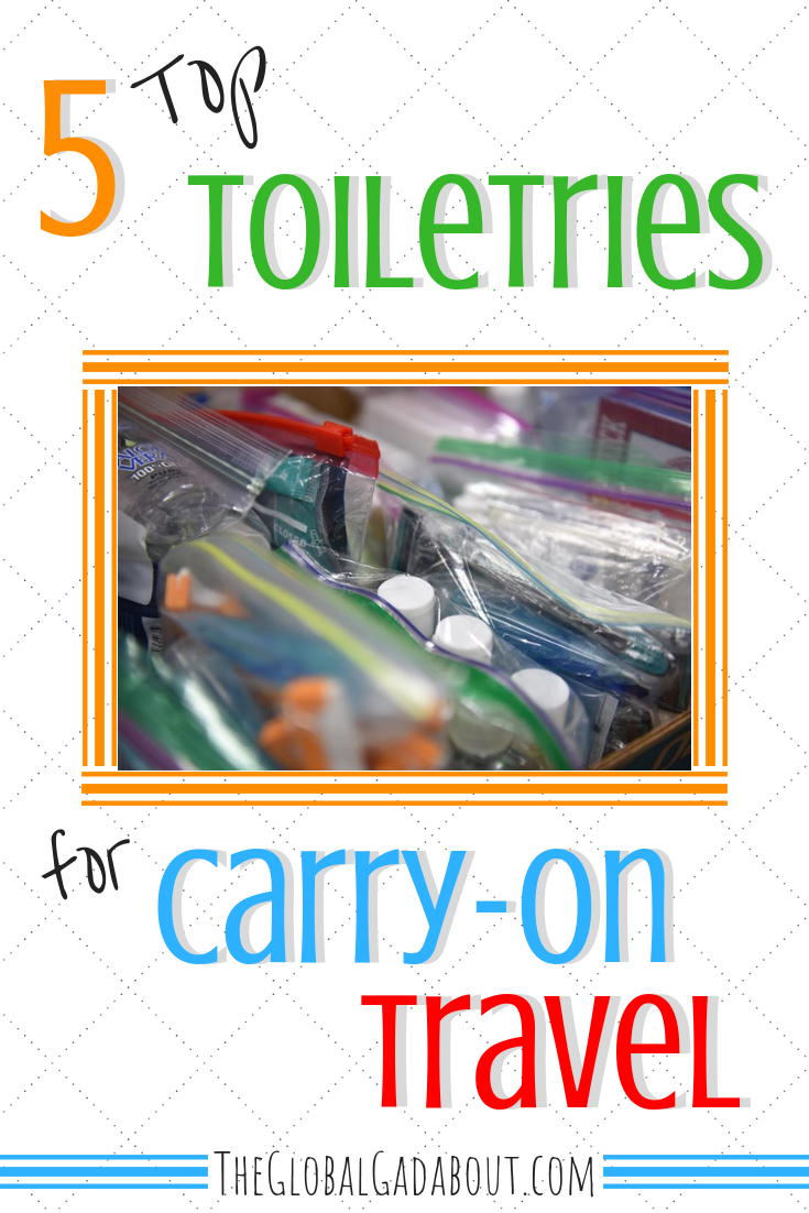 When packing carry-on only, you have to be careful about your liquid toiletries to pass the TSA's 3-1-1 rule. Click through to discover 5 products that are either solid, so don't count, or multi-functional/concentrated, so you can bring less! #theglobalgadabout #traveltoiletries #311rule #airtravel #carryontravel #traveltips