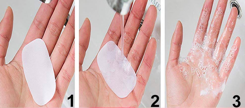 The three stages of using a soap sheet: place the sheet in hand, add water, watch it foam up into soap.