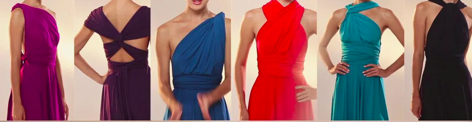 6 female torsos showing various ways to wear an infinity dress.