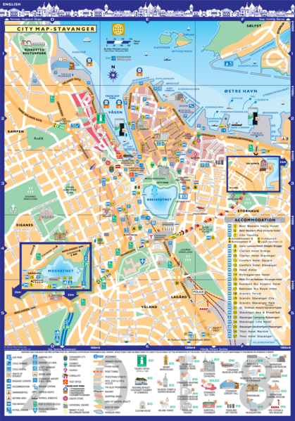 a tourist map of Stavanger with attraction listed.