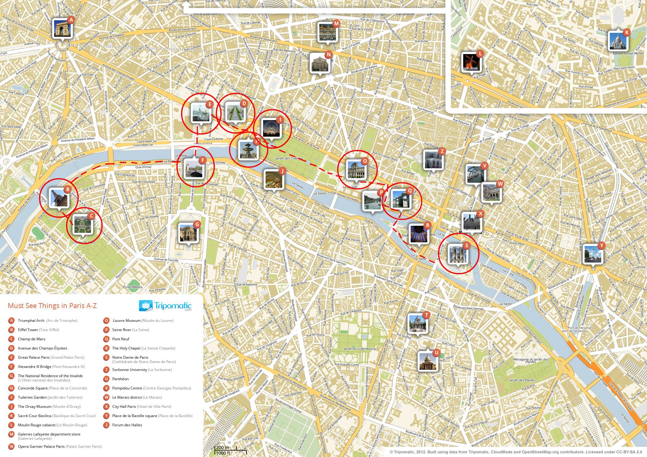 Road map of Paris with major tourist attractions circled, numbered, with small images of each.