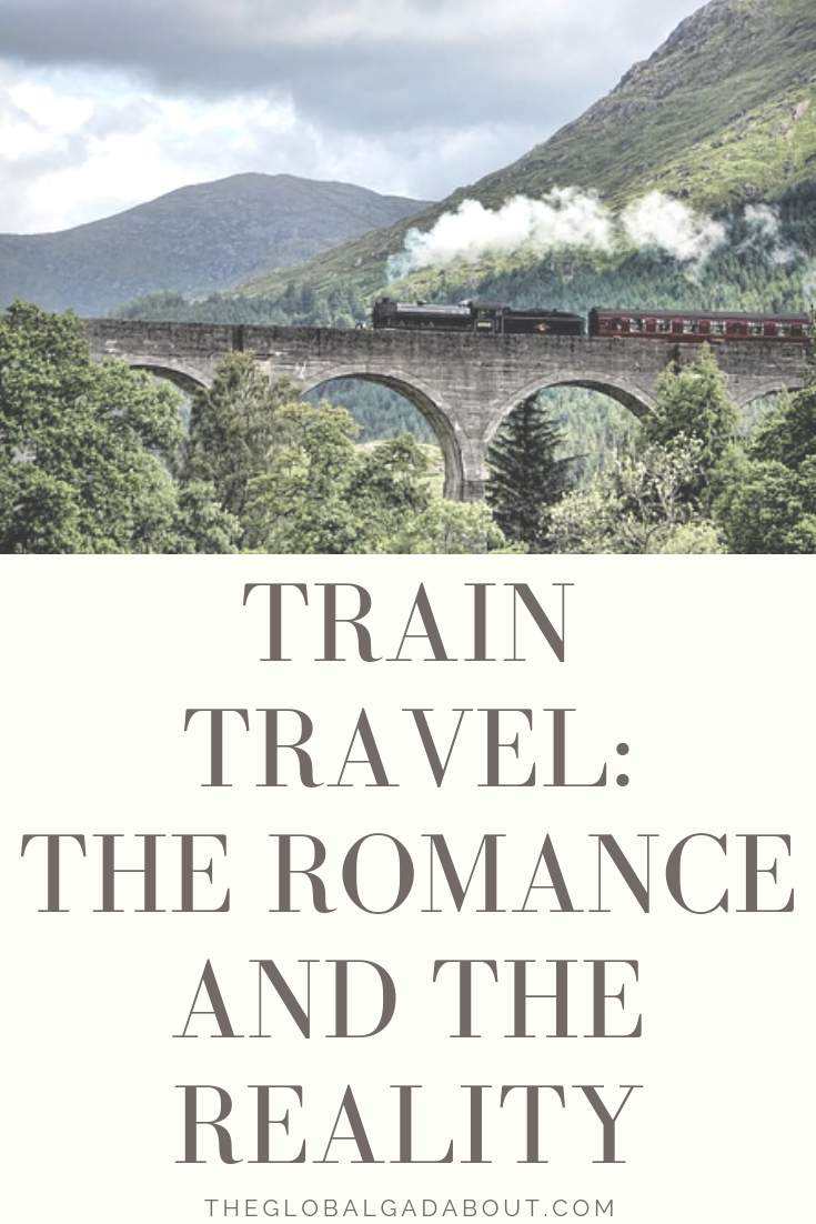 Train travel has the nostalgic quality of a novelty of the past still functioning in the present. In a world of budget flights and car sharing, is a train ride a romantic adventure or the uncomfortable long way to get anywhere? Click through to compare the romance and the reality of trains around the world! theglobalgadabout.com #traintravel #nostalgia #geektravel #theglobalgadabout #orientexpress #bullettrain