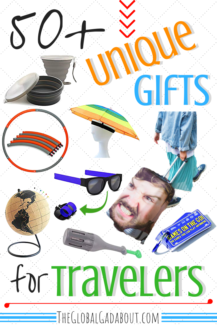 Looking for a unique gift idea travelers will love? Click through for 50+ fun and useful travel-related items you probably haven't thought of! Plus get a discount on some items :-) #travelgifts #travelpresents #giftideas #presentideas #theglobalgadabout #travelgear #travelaccessories #budgetgiftideas #budgettravel #uniquegifts #unusualgifts