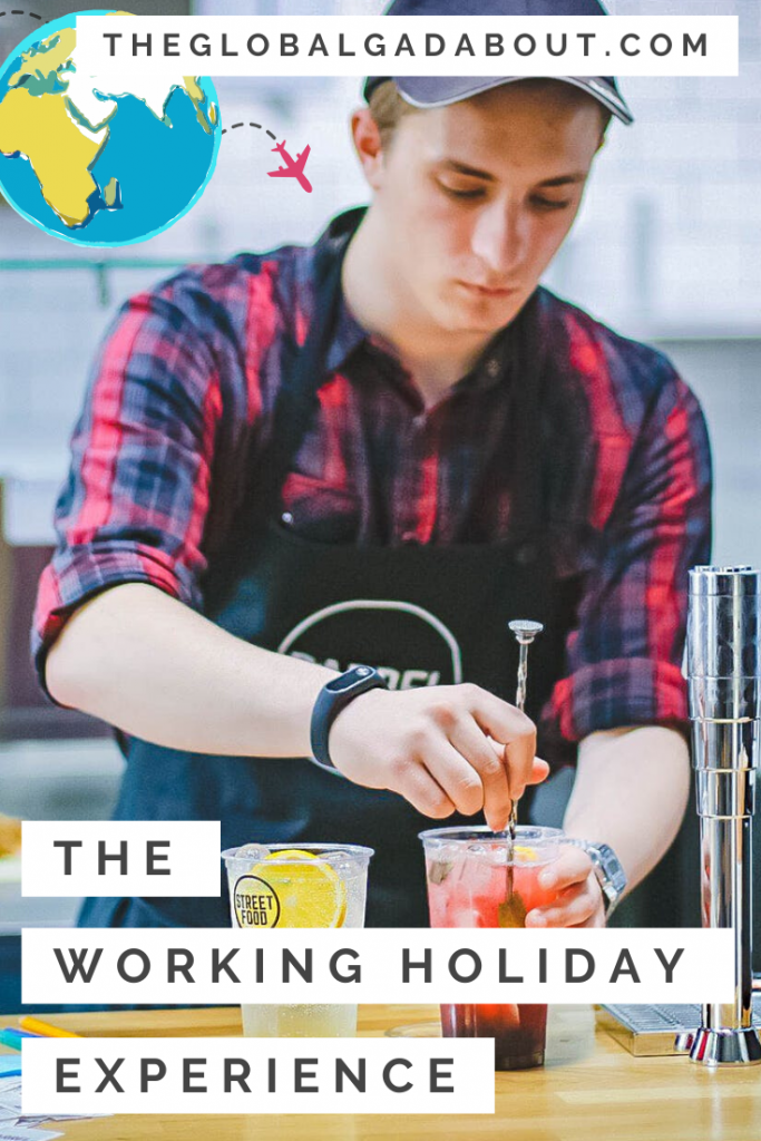 "A young man working in a cafe, stirring a drink. Text for the website TheGlobalGadabout.com at the top and the title ""The Working Holiday Experience"" at the bottom."