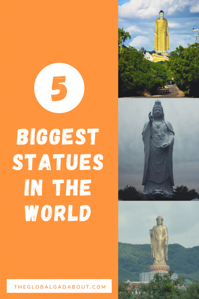 "One half is orange with the words ""5 Biggest Statues in the World"" and ""TheGlobalGadabout.com"" in white. The other half has three vertical photos of tall statues."
