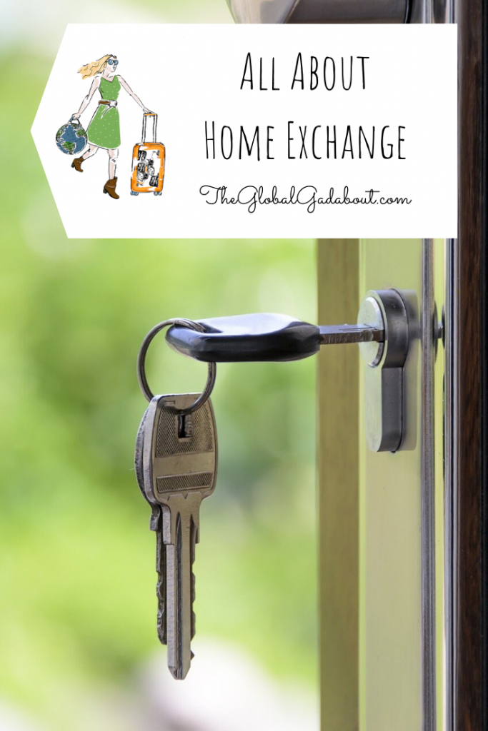 "A set of keys in the lock of an open door. A white luggage tag shape in the top third with The Global Gadabout logo and the words ""All About Home Exchange"" and ""TheGlobalGadabout.com""."