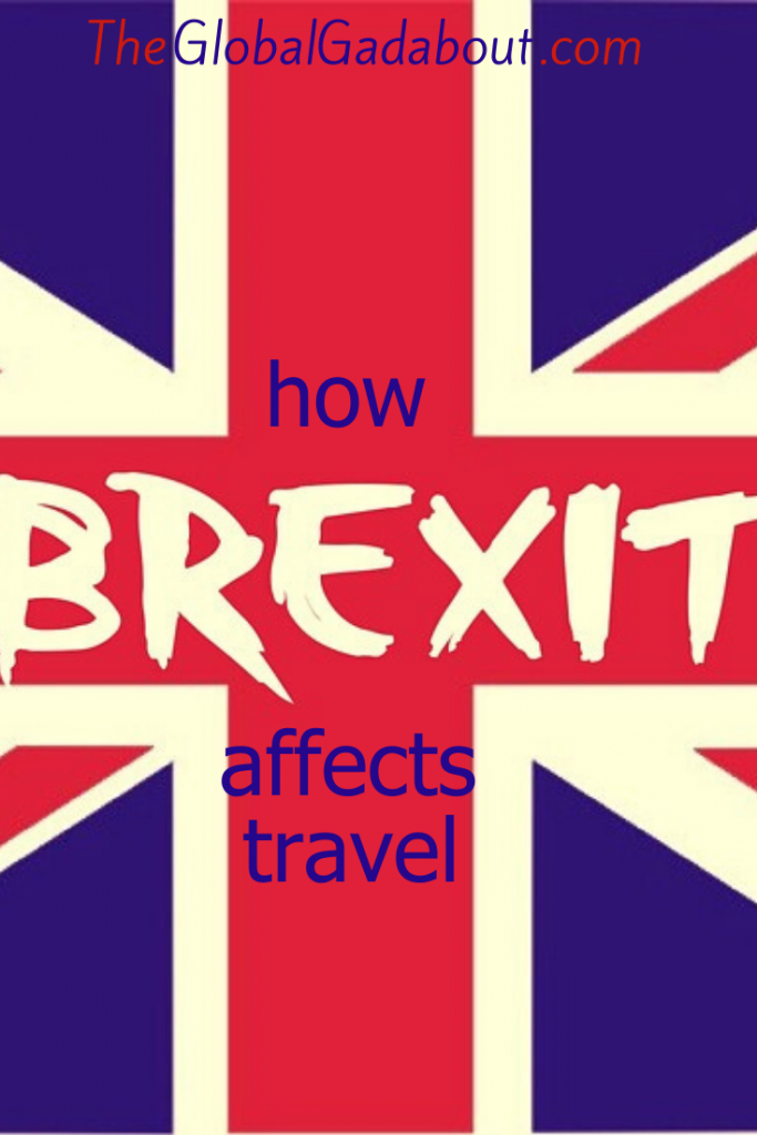 "A UK flag with the words ""How Brexit Affects Travel"" and ""TheGlobalGadabout.com"""