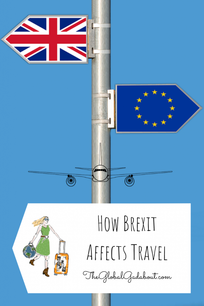 UK and EU flags pointing opposite directions, Global Gadabout logo and post title: How Brexit Affects Travel