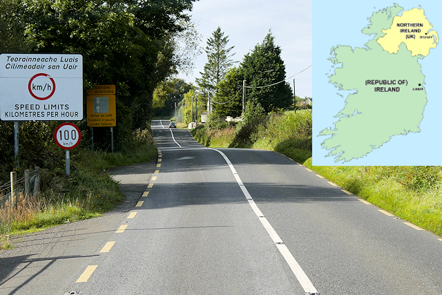 A rural road with a speed limit sign, the border of Ireland and Northern Ireland. A map in the corner of Ireland and Northern Ireland.