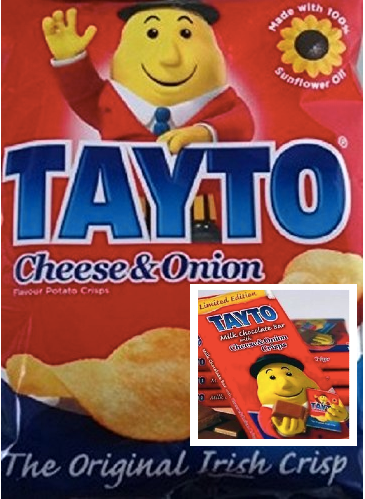 A bag of Tayto Cheese & Onion potato crisps with an insert of the chocolate bar of the same flavor.