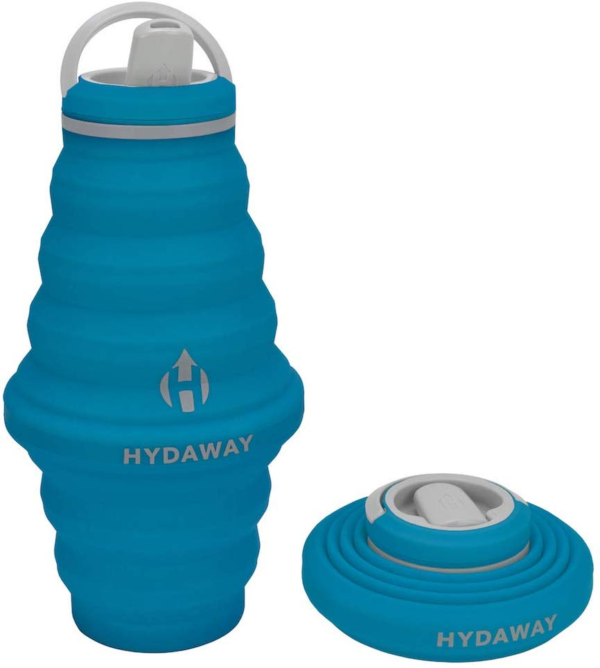 Hydaway collapsible water bottle, both full extended and full collapsed.