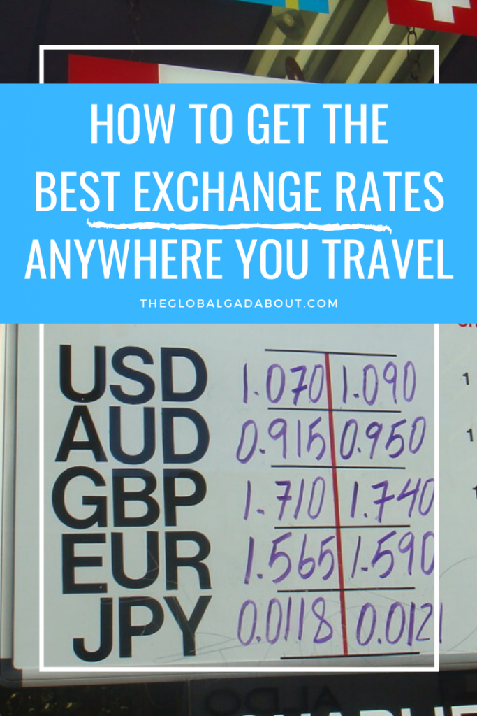 "Exchange rate sign featuring rates for USD, AUD, GBP, EUR, & JPY. White border, blue box in upper third with the words ""How to Get the Best Exchange Rates Anywhere You Travel"" and ""TheGlobalGadabout.com"" in white."