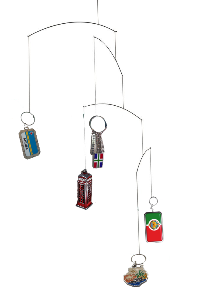 A hanging mobile with 5 different souvenir key chains hanging from it.