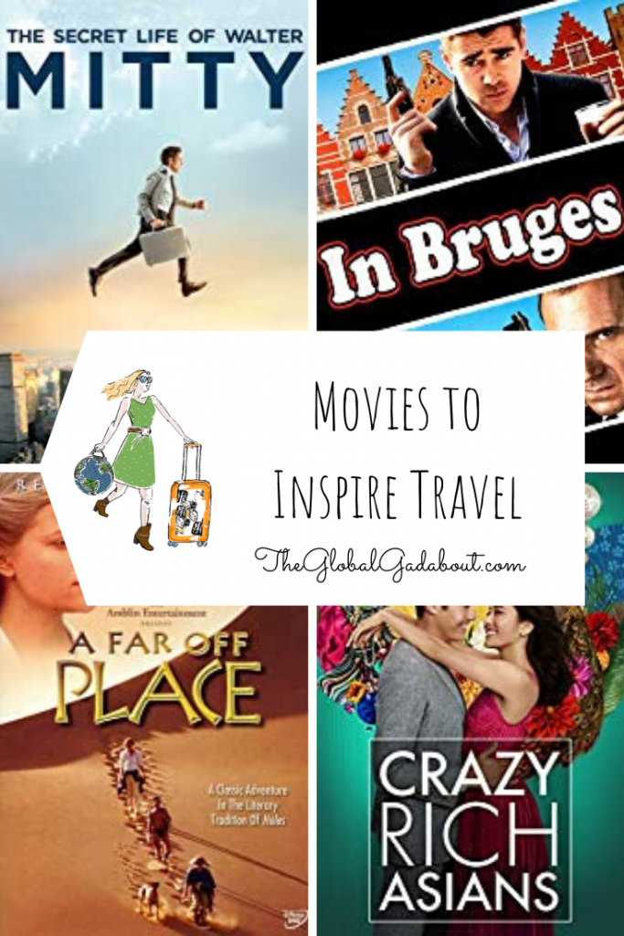 "4 DVD covers: The Secret Life of Walter Mitty, In Bruges, A Far Off Place, Crazy Rich Asians. A white luggage tag shape in the middle with The Global Gadabout logo and the words ""Movies to Inspire Travel"" and ""TheGlobalGadabout.com"""