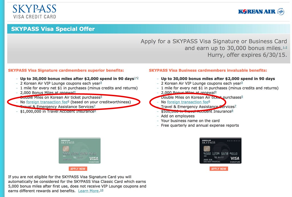 "Credit card offer for Korean Air's Skypass Visa. ""No Foreign Transaction Fees"" circled in red."