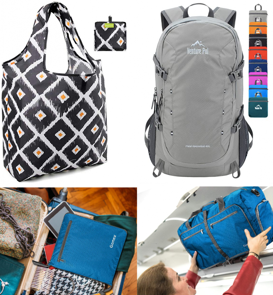 Collapsible shopping bag and backpack product images on top, a folding duffle bag packed in a suitcase and full being put in a plane overhead bin on the bottom.