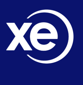 xe.com logo white over dark blue