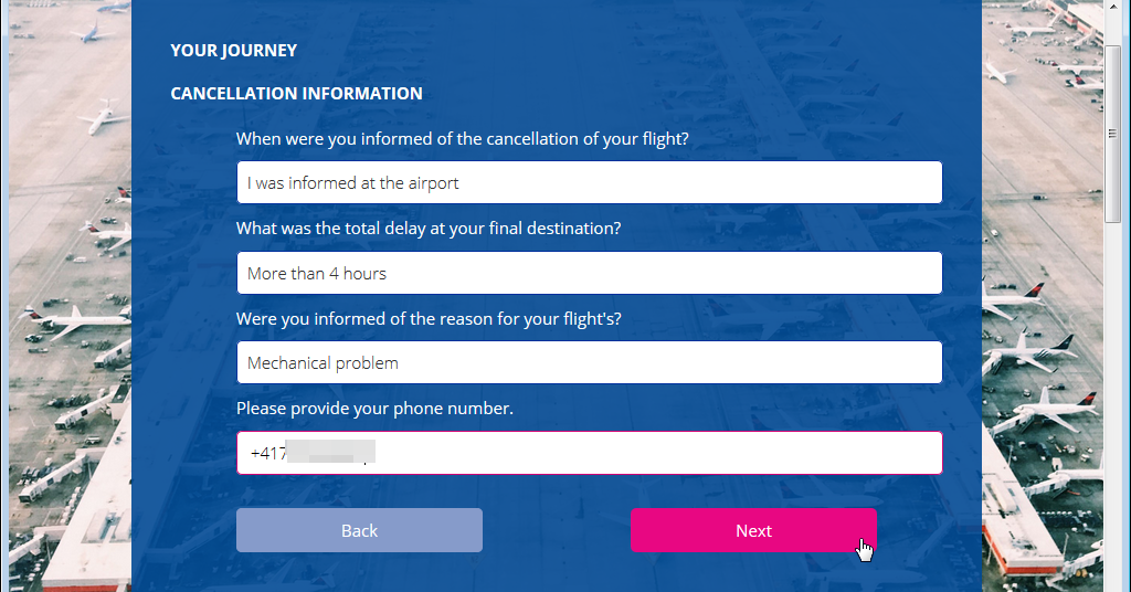 Screenshot of an online journey cancellation questionnaire.