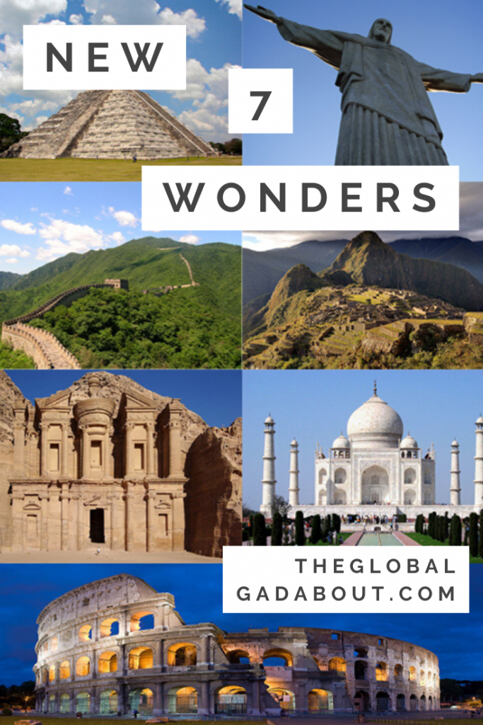 "Squares of the new 7 wonders: Chichen Itza, Christ the Redeemer, Great Wall of China, Machu Picchu, Petra, Taj Mahal, & Colosseum. White rectangles superimposed with black text reading ""New 7 Wonders"" and ""TheGlobalGadabout.com""."