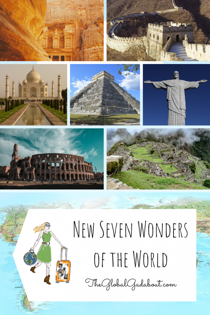 "Collage of Petra, the Great Wall of China, the Taj Mahal, Chichen Itza, Christ the Redeemer, the Colosseum, Machu Picchu, and a world map. A white luggage-tag shape covers most of the map with The Global Gadabout logo on it and the words ""New Seven Wonders of the World"" and ""TheGlobalGadabout.com""."