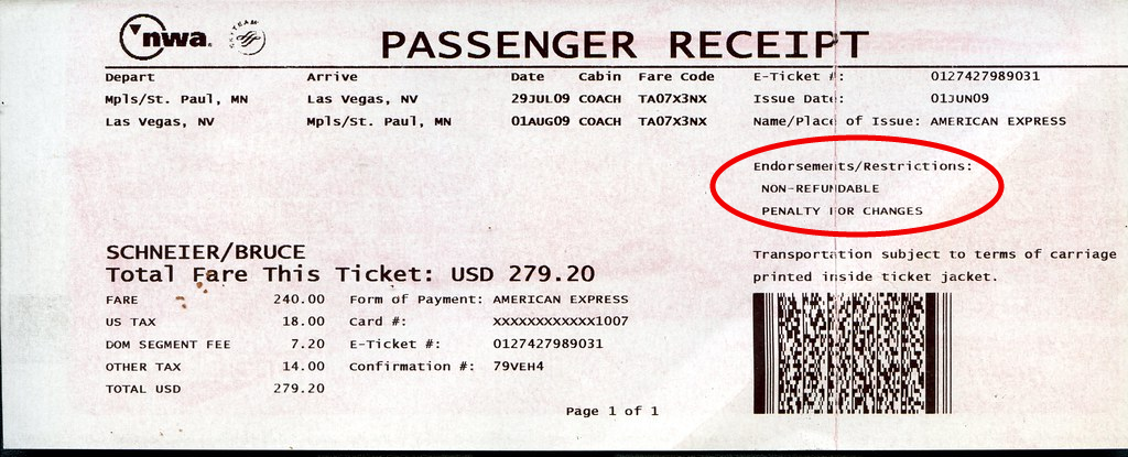 "Passenger Receipt/ticket for NWA with ""Non-Refundable, Penalty for Changes"" circled in red."
