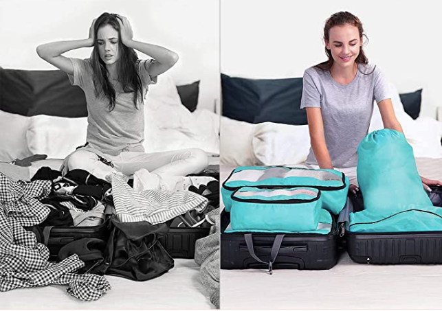 Two images size by side of the same woman packing a suitcase. On the left, the image is black and white, the clothes are a mess, and the woman looks frustrated. On the right, the image is in color, everything is packed neatly in packing cubes, and the woman looks happy.