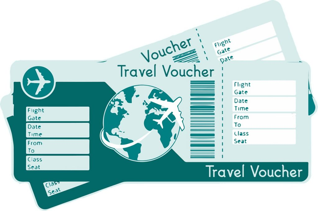 Two generic travel vouchers.