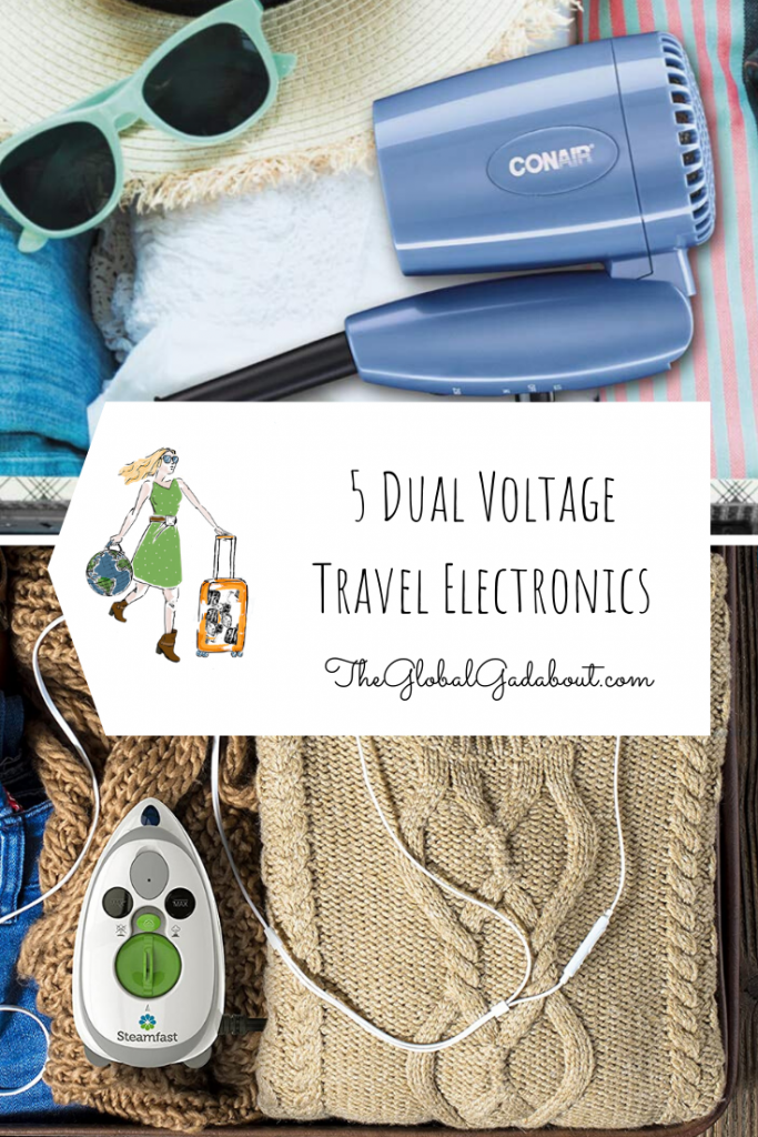 "Top half is a folded travel hair dryer in a suitcase with clothes and sunglasses. Bottom half is a full suitcase with a travel iron on top. Between them is a white luggage-tag shape with The Global Gadabout logo and the words ""5 Dual Voltage Travel Electronics"" and ""TheGlobalGadabout.com""."