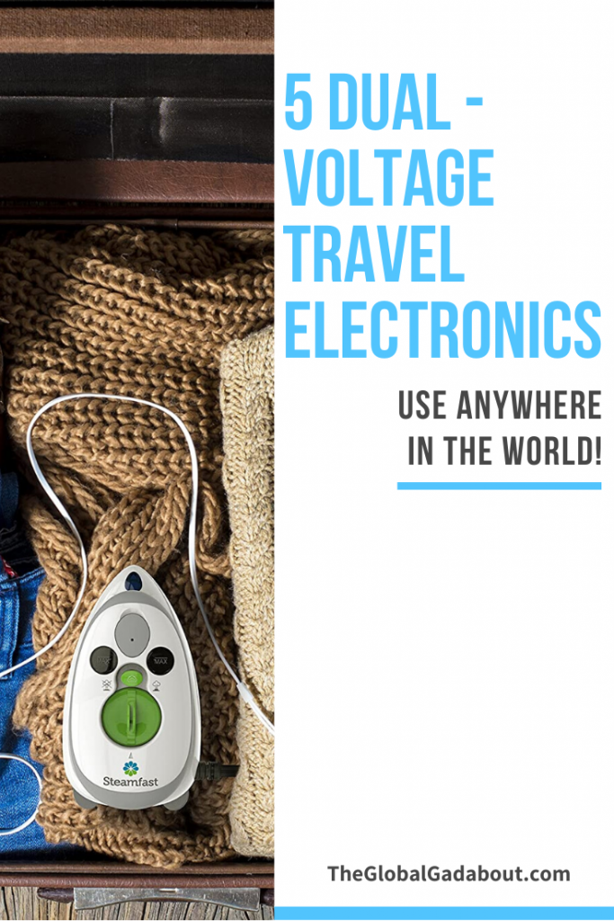 "Left half is a photo of a travel iron and sweater in a suitcase. Right half is white with the words ""5 Dual-Voltage Travel Electronics"", ""Use Anywhere in the World!"" and ""TheGlobalGadabout.com""."