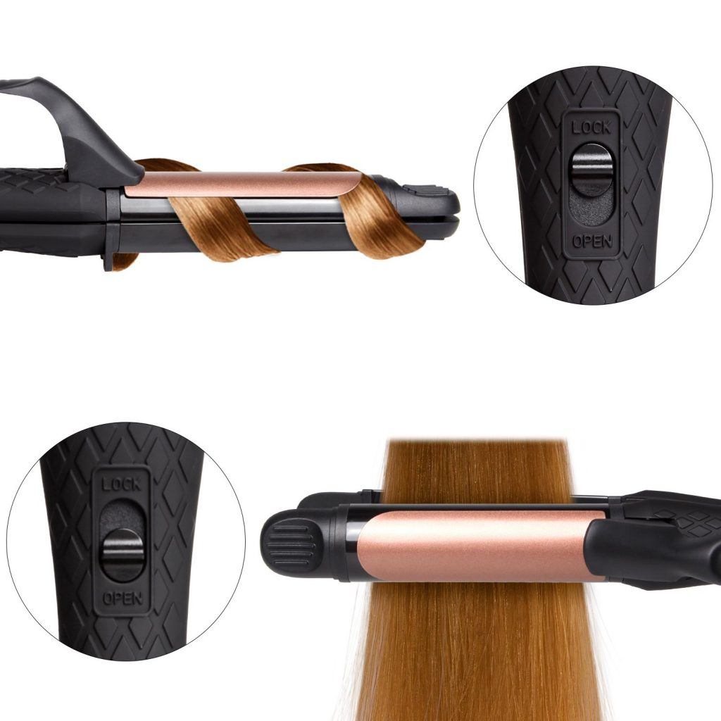 """A curling iron with hair curled around it next to a close up of a button on the handle in the """"lock"""" position. Below, the same button in the open position and a straightener over hair."""
