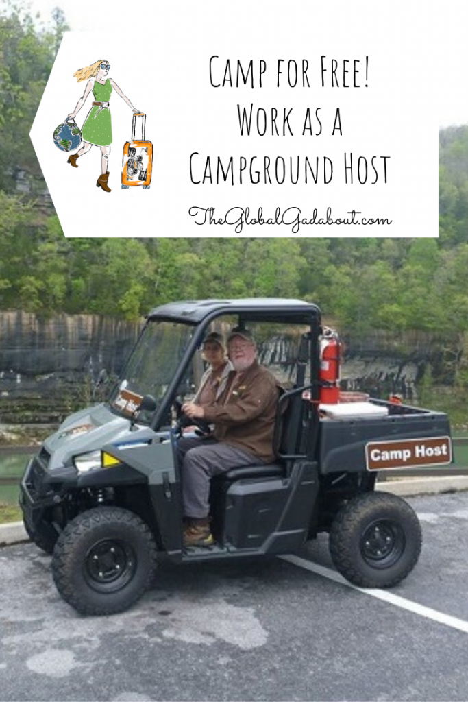 "An older couple in a small truck in the wilderness with a ""Camp Host"" sign. A white luggage-tag shape covers the top third with The Global Gadabout logo and ""Camp for Free! Work as a Campground Host"" and ""TheGlobalGadabout.com"" in black."