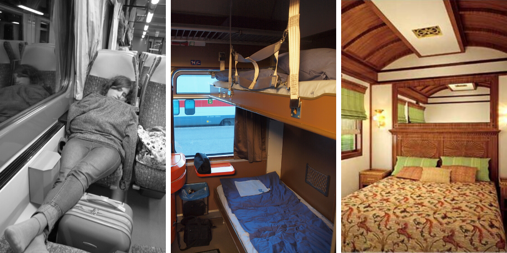 Three kinds of train accommodation. Left: A woman sleeping in a train seat. Middle: A couchette cabin with 2 bunks shown. Right: A large double bed train sleeper cabin.