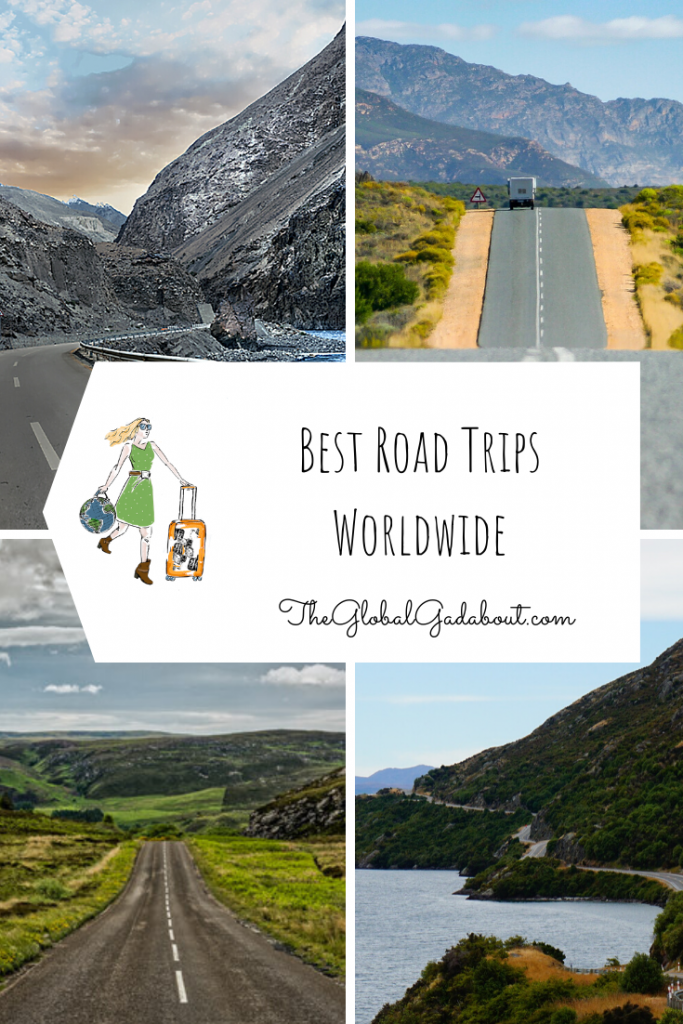 "Each quarter has a photo of a scenic road. In the middle is a white luggage-tag shape with The Global Gadabout logo and the words ""Best Road Trips Worldwide"" and ""TheGlobalGadabout.com"""