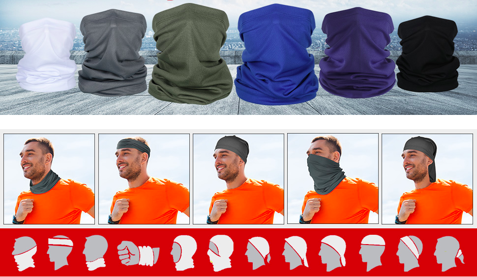 Several buff/gaiter-style face masks in different colors, a man wearing one 5 different ways, and drawings of 12 ways to wear one.